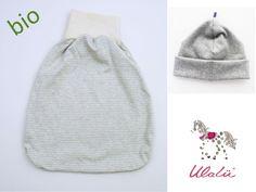 Strampelsäcke - Set Baby Strampelsack und Mütze grau - ein Designerstück von Ulalue-Kinderdinge bei DaWanda