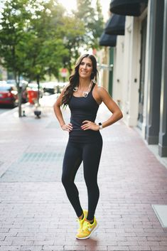A Southern Drawl. Black top+black Polka Dot Mesh Leggings+yellow sneakers. Late Summer Workout Outfit 2016