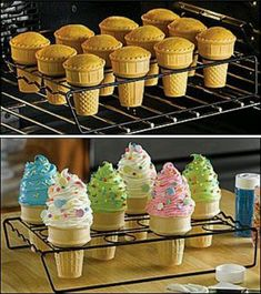 Cupcake ice creme cones.mmmm I need this tray!!!