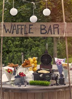 a waffle bar is another cool idea for a brunch wedding, many people love waffles Bridal Shower Rustic, Rustic Wedding, Wedding Ideas, Cozy Wedding, Wedding Blog, Bride Shower, Perfect Wedding, Rustic Bridal Shower Decorations, Baby Shower