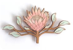 There is 1 protea magnet in a packet.ColourThe Protea is hand painted on natural wide x high x thick. Botanical Illustration, Illustration Art, Collages, Wrought Iron Decor, Illustrations, Fabric Painting, Rock Art, Flower Art, Printmaking