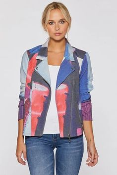 Absolution Stretch Moto Jacket by Claire Desjardins. #clairedesjardins #clairedesjardinsart #ClaireDesjardinsApparel #DesignerJacket #JeanJacket #cami #WomensApparel #WearableArt #designerclothing #apparel #designerapparel #artandfashion #fashionandclothing #artonclothing #abstractart #abstractpainting #designerclothes #womensapparel #Tunic #Dress #Jacket #MotoJacket #WomensTop #Scarf #Dress #Blouse