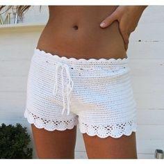 Bilderesultat for hakeln rosa shorts Shorts Tejidos A Crochet, Crochet Pants, Crochet Skirts, Crochet Clothes, Crochet Bikini, Knit Crochet, Crochet Cardigan, Sexy Shorts, Lace Shorts