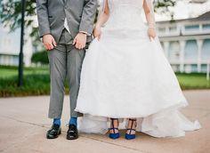 something blue for your Disney wedding. Bride's dress is by designer Stella York