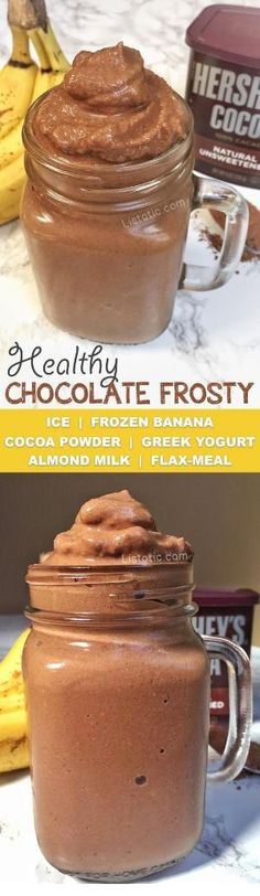 Healthy chocolate frosty ice cream recipe that tastes just like Wendy\'s! My kids love this thick milkshake/soft serve and have no idea that it\'s actually a healthy snack! Listotic.com by viola
