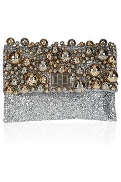 Anya Hindmarch|Valorie Bells embellished glitter-finished leather clutch|NET-A-PORTER.COM