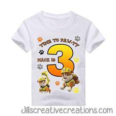 Paw Patrol Birthday T-Shirt, Chase, Rubble