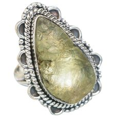 Large Rough Prehnite 925 Sterling Silver Ring Size 7 RING754680