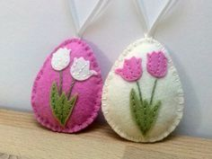 Felt easter decoration ivory and pink felt eggs by DusiCrafts