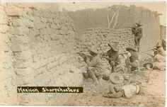 Mexican Revolution Sharshooters, Vintage 1915 Real Photo Post Card. Produced by AZO (1904-1918) era with photograper W. H. Horne, El Paso, Texas a personal acquaintance of Panch Villa who was allowed to accompany the Villa Troops into battle and photograph the action. Card has a Divided Back, Unused, and in Near Mint condition. Karodens Vintage Post Cards at www.bonanza.com/booths/karoden Cristero War, Mexican People, Mexican Revolution, Chihuahua Mexico, Tx Usa, Mexicans, Post Card, Old West, Old Pictures