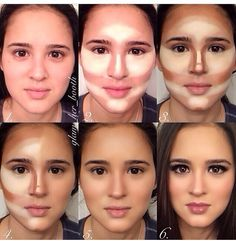 Contouring  (1) 2 shades darker foundation (2) highlighter/concealer (3) tinted moisturizer (4) blend with beauty sponge
