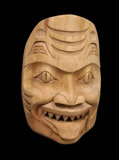 Carved Cedar Dogfish Mask -- by Coast Salish artist Tom Eneas
