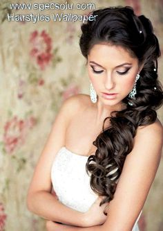 Small Hair Pins Accesories on Beautiful Braided Cherry Black Hair with Wedding Hairstyles for Long Hair Down