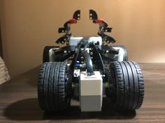 EV3 C-Dragster 1.0 front view. The light sensor is added for line follow and auto-start at start/finish lines