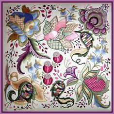 Wonderful Ribbon Embroidery Flowers by Hand Ideas. Enchanting Ribbon Embroidery Flowers by Hand Ideas. Bordado Jacobean, Crewel Embroidery Kits, Hand Embroidery Patterns, Ribbon Embroidery, Cross Stitch Embroidery, Machine Embroidery, Embroidery Supplies, Local Embroidery, Embroidery Saree