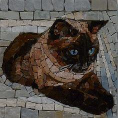 Cat mosaic by Luigi Perotti Mosaic Glass, Mosaic Tiles, Glass Art, Stained Glass, Tiling, Mosaic Crafts, Mosaic Projects, Mosaic Designs, Mosaic Patterns