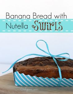 Moist and flavorful banana bread with swirls of chocolate hazelnut spread #nutella