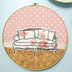 Wonderful stitched couch, from 365 lucky days (via doe-c-doe) #365LuckyDays #embroidery #couch