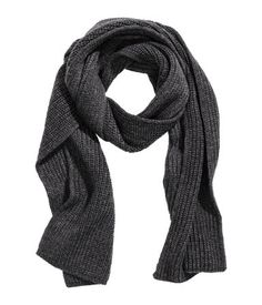 13  Charcoal gray. Rib-knit scarf. Size 9 3/4 x 67 in.