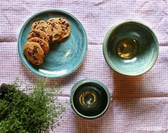 Scrumptious cookies on handmade antique blue pottery.