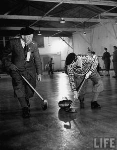 Repinned from a curling folder by Amy Holdorf. The notation said: Players in Detroit, 1949. It's too bad that the Olympic players of today do not dress up like this for their own matches.