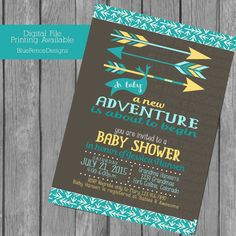 Gender Neutral Baby Shower Invitation by Blue Fence Designs.  A New Adventure with arrows.  Turquoise and Yellow.  Color change available on request.