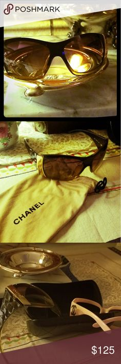 Authentic Chanel sunnies!! 100% Beautiful Chanel sun glasses,  No cracks or scratches!! Like new, Comes with case,  I am moving and i am selling some of my glasses, Frames have a slight hint of green, Gold Chanel logo, These were bought on here, but i only wore maybe 2x, lol,  too many glasses, CHANEL Accessories Sunglasses