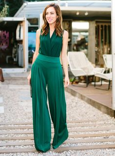Sydne Style - Los Angeles fashion blogger and People StyleWatch contributor Sydne Summer shows how to style emerald green, wide leg pants for the holidays.