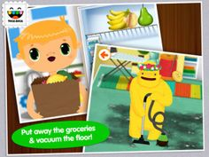How to teach kids about house chores?  Best way is by playing fun games, so they grow up not feeling it is chore.  Toca House is a fun game for young kids, teaching house responsibilities.  #apps #kids #preschool #kindergarten #education