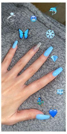 Blue Acrylic Nails Glitter, Acrylic Nails Coffin Short, Best Acrylic Nails, Acrylic Nail Designs, Baby Blue Nails With Glitter, Blue Nail Designs, Coffin Nails, Acylic Nails, Fire Nails