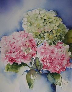 Hydrangea watercolor by Josiane Leveque #watercolor jd