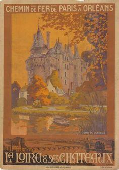 chemins de fer de paris à orléans - La Loire et ses châteaux - château de Langeais - illustration de Lessart ?