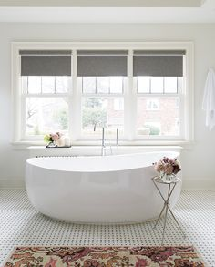 Go beyond the typical bath mat and elevate your bathroom with a stylish rug underfoot. Spa Like Bathroom, Laundry In Bathroom, Bathroom Rugs, Bathroom Colors, Modern Bathroom, Master Bathroom, Bathroom Ideas, Bathroom Goals, Boho Bathroom