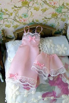 Dollhouse miniature. Silk undies for a lady doll. 1/12 scale. Display item only. Handmade. Pink silk. Dollhouse clothes.