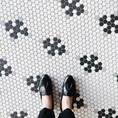 A Feminine Tomboy Hexagon Tiles, Hexagon Pattern, Feminine Tomboy, Tassel Loafers, Thing 1, Pretty Shoes, Bath Design, Tile Patterns, Chanel