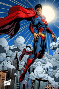 Superman by Jorge Jimenez; color by Kristopher Alan Conrad. Arte Do Superman, Superman Artwork, Superman Wallpaper, Batman Vs Superman, Dc Heroes, Comic Book Heroes, Superman Pictures, Hq Marvel, Superman Family
