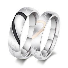 Fashion Couple Love Heart Stainless Steel Comfort Fit Wedding Bands Promise Ring…