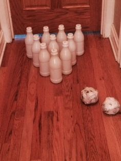 Indoor Bowling- Playing from Scratch Masking Tape, Plastic Bottles, Recycled Materials, Fun Learning, Bowling, Indoor, Play, Duct Tape, Pet Plastic Bottles