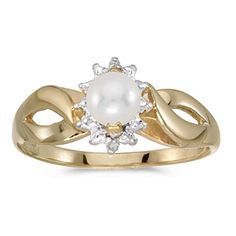 10k Yellow Gold Freshwater Cultured Pearl And Diamond Ring Size 7 ** You can find out more details at the link of the image.Note:It is affiliate link to Amazon.