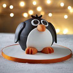 Penguin Hemisphere Cake - It's  Make a Penguin Cake! Christmas Cake Designs, Christmas Cake Decorations, Christmas Cupcakes, Fondant Cakes, Cupcake Cakes, Fondant Icing, Chocolate Fondant, 3d Cakes, Modeling Chocolate