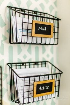 The Home Decor: DIY Industrial Wire Mail Baskets (from a $5 Cleani...