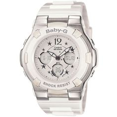 Casio Baby-G White With Stars Chrono Ladies Watch-BGA-113-7BDR  RRP: £120.00 Online price: £89.99 You Save: £30.01 (25%)  www.lingraywatches.co.uk