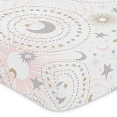 Give her room a stellar look with the Sweet Jojo Designs Celestial Bedding Collection. The Celestial Fitted Crib Sheet is crafted of soft brushed microfiber, features stunning star, sun, and moon designs, and is elasticized for a secure fit. Star Themed Nursery, Baby Girl Nursery Themes, Star Nursery, Nursery Ideas, Room Ideas, Nursery Rhymes, Moon Nursery, Nursery Crib, Galaxy Nursery