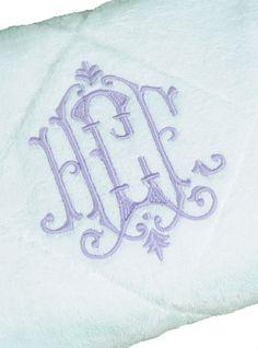 Linen-Embroidered Bath Towels With Monogram | Leontine Linens | Etienne Monogram
