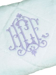 Linen-Embroidered Bath Towels With Monogram | Leontine Linens | Etienne Monogram
