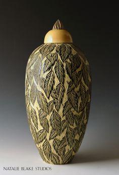 Handmade hand carved Leaf pattern glazed in honey ~ Memorial Urn custom made by Natalie Blake Studios in Brattleboro, Vermont Pottery Patterns, Pottery Designs, Pottery Painting, Ceramic Painting, Ceramic Decor, Ceramic Pottery, Pottery Tools, Ceramic Techniques, Pet Urns
