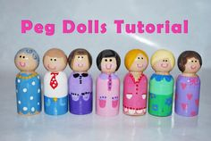 Handmade Gift Idea: Peg Dolls  They are super simple and anyone can do them.. yes anyone! even if you can paint. If you can make lines and dots, then you're good. First you need unfinished man peg dolls from the craft store. They have women forms that are smaller and flare out at the bottom like a skirt. They are fine to use but I like these man dolls because they are chunky and much safer for little hands.