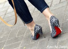 Christian Louboutin Yotruche pumps in metal and silver leopard- got these! (my 1st)