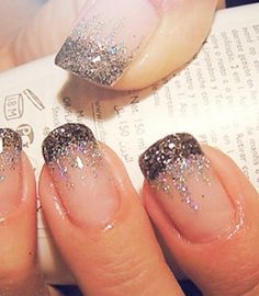 French manicure and glitter waterfall
