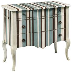 """Hand-painted stripes on wood (hardwood & composites) accent chest w/ three drawers & cabriole legs - H x  34"""" H x 36"""" W x 16"""" D - Note: Assembly required - was $899, now $479"""